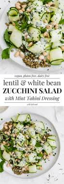 lentil zucchini ribbon salad with mint tahini white beans is the perfect high fiber