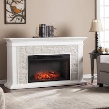 harper blvd utley white faux stone widescreen electric