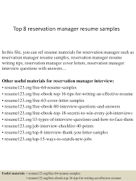 Top 8 reservation manager resume samples In this file, you can ref resume  materials for ...