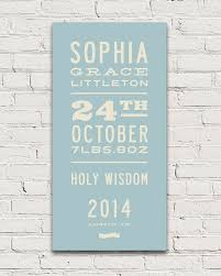 Baby Name Chart 2014 Gift For New Parents Personalized With Babys Name And