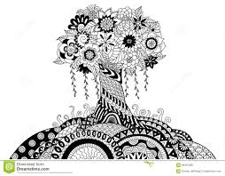 whimsical tree line art design for coloring book and other decorations