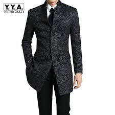 long coat men spring winter business long coats casual wool trench coat overcoat male fashion casual jacket big