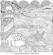 Small Picture Printable Coloring Page Adults Mountain Landscape Stock Vector