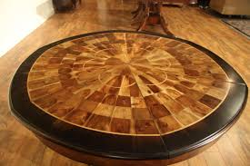 self storing leaves burly walnut inlaid dining table