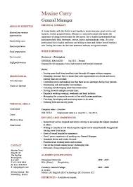 resume job responsibilities examples general manager resume cv example job description sample