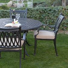 furniture black wrought iron outdoor dining set with round table and cahir using arm and
