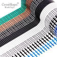 Online Shop 15mmx10m Black White Blue Grid <b>Washi</b> Tape Paper ...