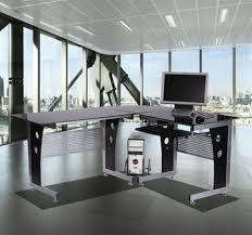 home office workstation. NEW Modern Glass Corner Workstation-Black L-shape PC/Laptop W/Cable Home Office Workstation