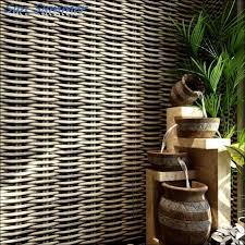 Chinese Stijl Vintage Stro Gevlochten Rotan Streep Behang Bamboe Tv