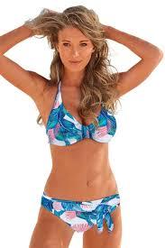 Wholesale <b>Bikini Swimwear</b>, Cheap Sky Blue <b>Floral Print</b> Halterneck ...