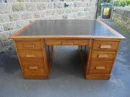 good quality antique oak 14 draw partners desk