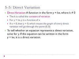 direct variation form essential question what does the k represent in a direct variation