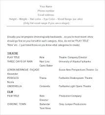 Acting Resume Template Download Free Acting Resume Template Templates Samples Examples