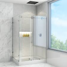 frameless shower enclosures. Contemporary Shower Frameless Sliding Shower Enclosure With 375in Clear Glass And Stainless  Steel Hardware Right Base Included  One Piece Tub And Enclosures  With E