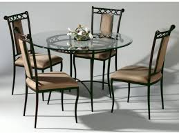 wrought iron dining chairs exquisite round glass top table 7 excellent