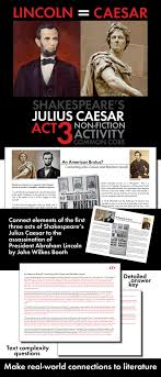 julius caesar abraham lincoln non fiction connect shakespeare after your class has finished act 3 of william shakespeare s tense drama the tragedy of