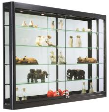 Glass Curio Cabinets With Lights Led Wall Showcase Cabinet Adjustable Ceiling Lights