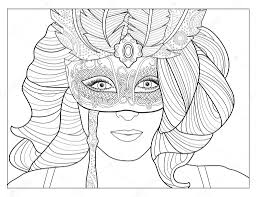 Small Picture Masquerade Mask Coloring Page Stock Photo smk0473 128345186