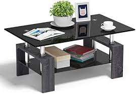 Great customer ratings for service, low price guarantee & free shipping deals! Amazon Com Tangkula Rectangle Glass Coffee Table Clear Coffee Table With Lower Shelf Wooden Legs Center Tables For Living Room Black Kitchen Dining