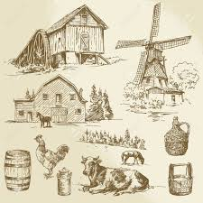 farm windmill drawing. Rural Landscape, Farm - Hand Drawn Windmill And Watermill Stock Vector 26590671 Drawing