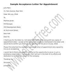 Offer Letter Acceptance Mail Format Sample Acceptance Letter For Appointment Format Job