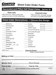 Costco Us Bakery Sheet Cake Order Form