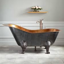 McQuire Hammered Copper Slipper Clawfoot Tub With Bright - Clawfoot tub bathroom