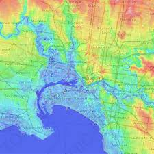 Limited edition and art prints will be available. City Of Melbourne Topographic Map Elevation Relief