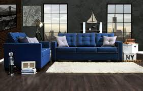 blue sofa living room ideas with wall brick decor and dark wooden flooring