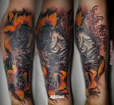 фото татуировки япония в стиле цветная япония татуировки на икре