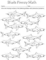 Shark Math Frenzy 1 791x1024 worksheet 11311600 missing number addition worksheets missing on fraction addition and subtraction worksheet