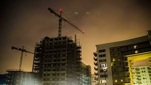 Time Lapse Of Building Construction At Night Tower Cranes And Fast