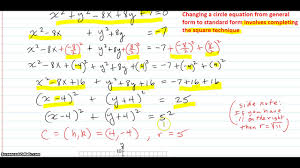 given a circle equation in general form change to standard form and graph the equation