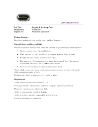 Gallery Of Shipping Receiving Clerk Job Description Resume Template