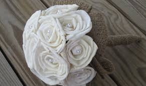sola flower bouquet custom made sola roses pearls and burlap