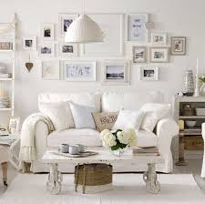 chic living room. Shabby Chic Living Room With White Sofa And Framed Wall Photos : Charming Interior