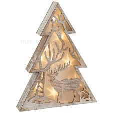 Leuchtender Baum Holz Weihnachtsdeko Mit Hirsch Led Beleuchtung 1 Stk 30x5 Cm Matches21