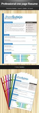 Free Resume Template Professional One Page Resume Psd Templates