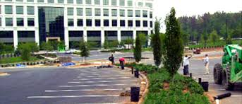 Office landscaping Urban Commercial Landscaping Construction Office Building Entrance Mgs Lawn Green Pleasantville Ny Landscape Construction North American Lawn Landscape Growing
