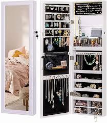 luxfurni led light jewelry cabinet wall