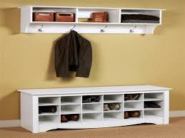 image of mudroom coat rack with shoe storage bench