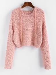 Fuzzy Light Pink Sweater Zaful Popcorn Knit Hooded Fuzzy Sweater