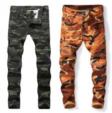 Designer Camo Pants New Mens Camouflage Jeans Motocycle Camo Military Slim Fit