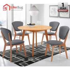 like bug 100cm viera round solid wood dining table with 4 dining chair set malaysia