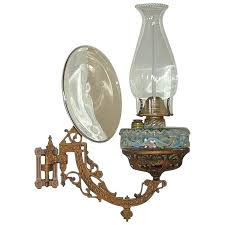 wall bracket oil lamp complete with reflector patent dated 1881