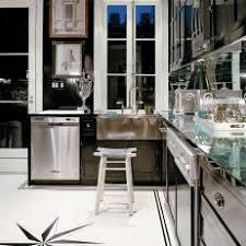 black and white tile floor kitchen. Contemporary Black And White Kitchen With Custom Tile Floor