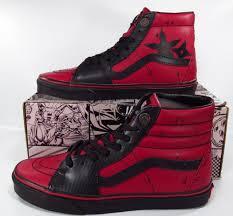 vans x marvel deadpool sk8 hi leather hi top sneakers limited edition for
