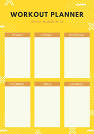 Online Exercise Tracker Customize 47 Workout Planner Templates Online Canva