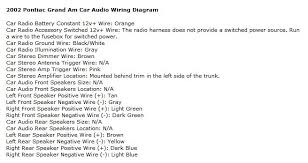 pontiac grand am questions can anyone help me with splicing 2002 Cavalier Stereo Wiring Diagram here's a wiring diagram for your car your existing stereo should have a constant and ignition power wire that you hook the new system to 2004 cavalier stereo wiring diagram