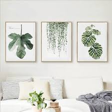 framed summer simple watercolour green tree leaves wall art set hd canvas printing for home livingroom on framed fern wall art with framed summer simple watercolour green tree leaves wall art set hd